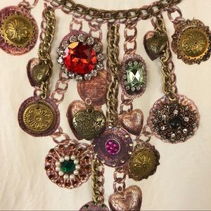 Double D Ranch Faux Necklace Embellished Top